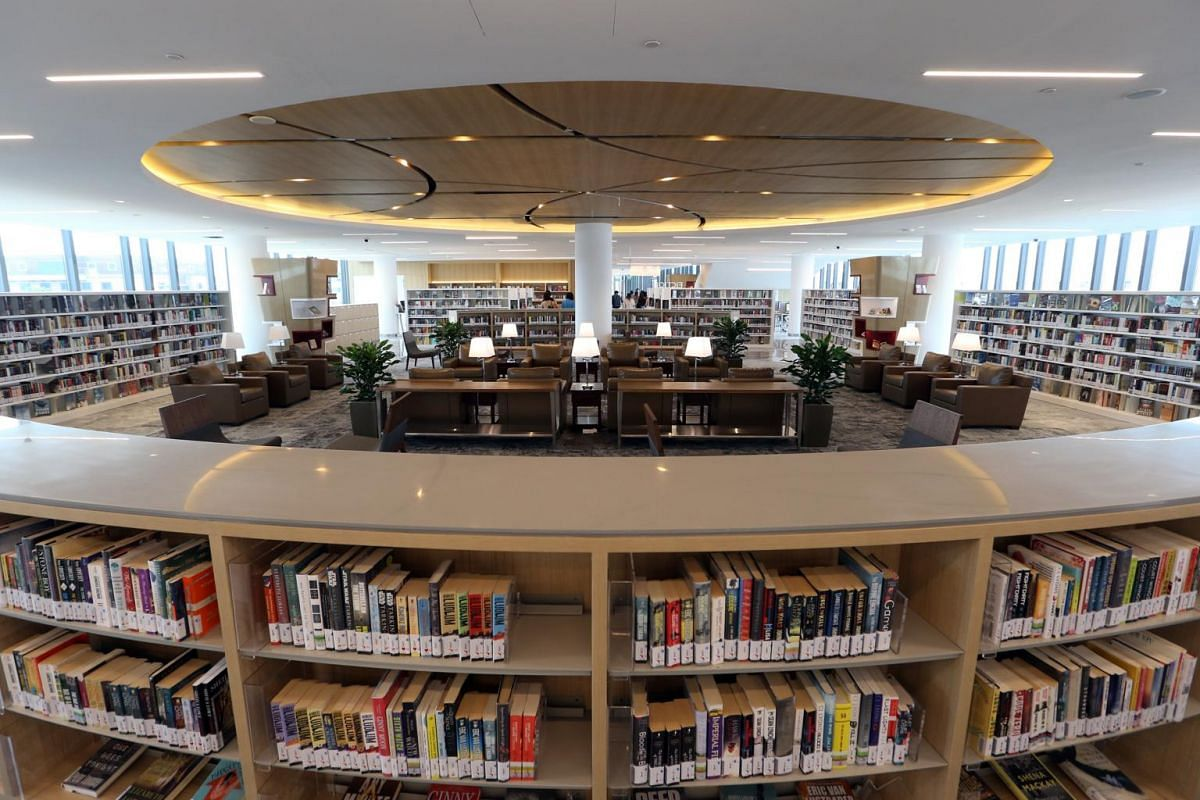 The study lounge at the Tampines Regional Library at its new location in Our Tampines Hub.