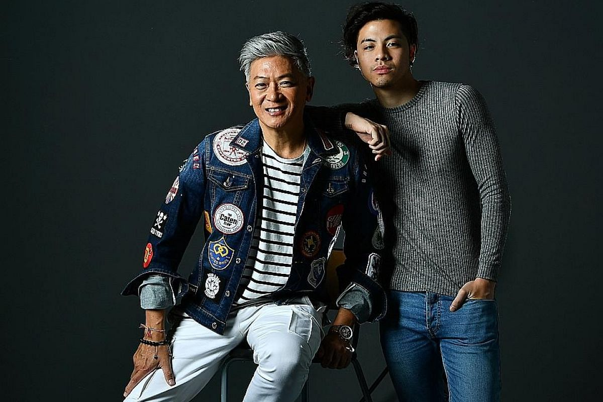 Dick Lee with Benjamin Kheng of local band The Sam Willows, who plays the music veteran in his younger days.