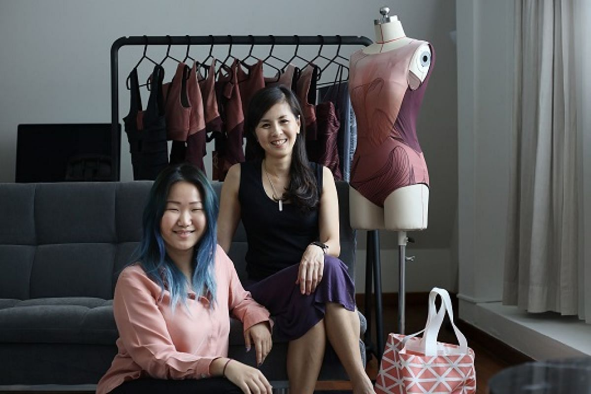 Ms Ng Su May (left) and Ms Belinda Lee, who founded swimwear label Pinksalt, at their showroom in Bukit Timah.
