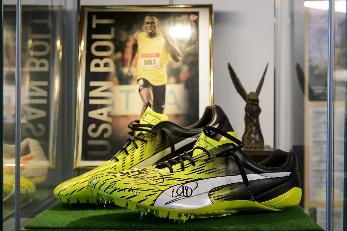 Usain Bolt's autographed pair of track and field spikes on display in the Footwear Museum in Salgotarjan, Hungary.