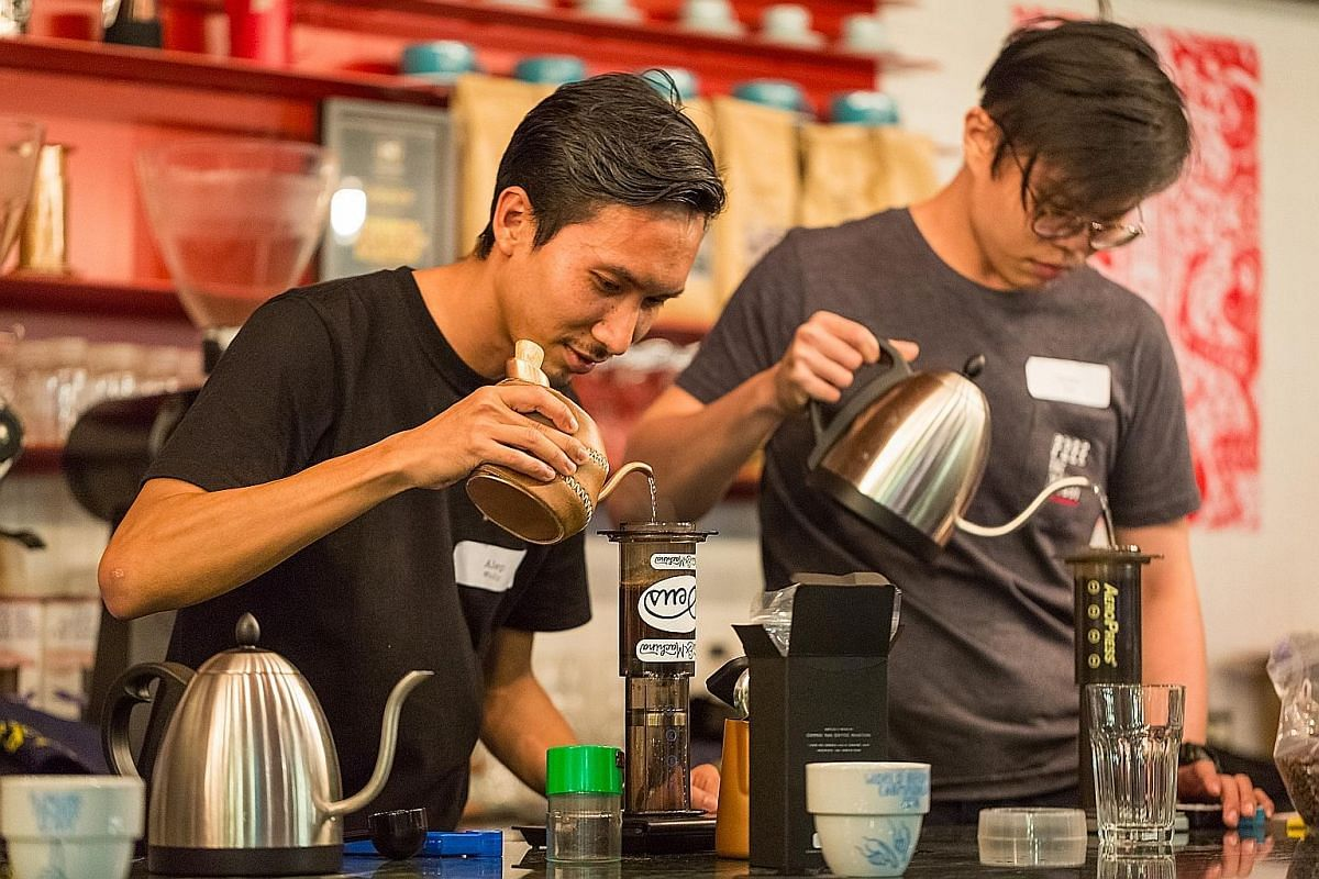 What to expect at the festival: The annual Singapore AeroPress Championships (above); a storytelling session by Paralympic champion Yip Pin Xiu (left); and singer- songwriter Jawn Chan's performance. Chilli crab croissant from Foxhole Cafe X The Pour