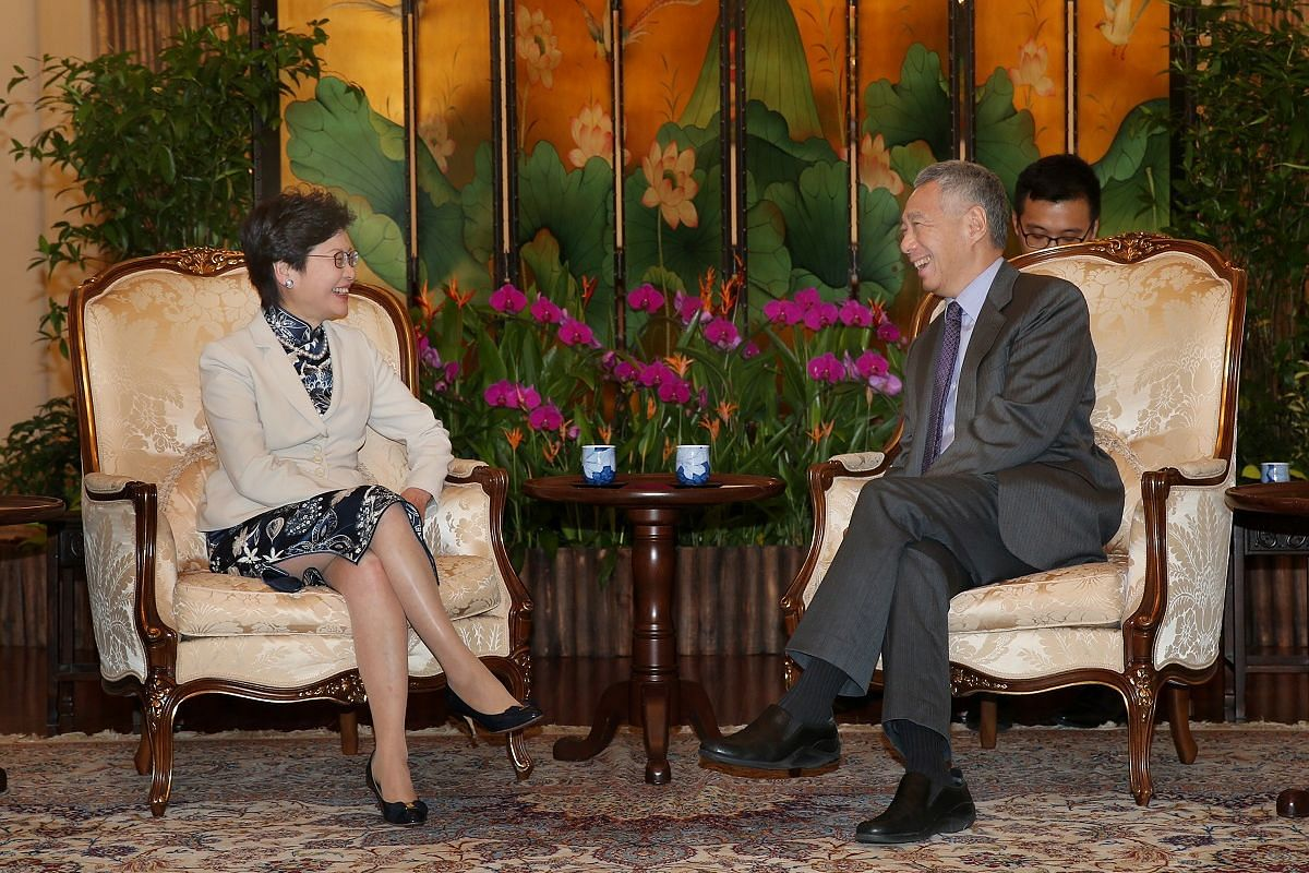 Mrs Carrie Lam and Prime Minister Lee Hsien Loong at the Istana on Aug 3.