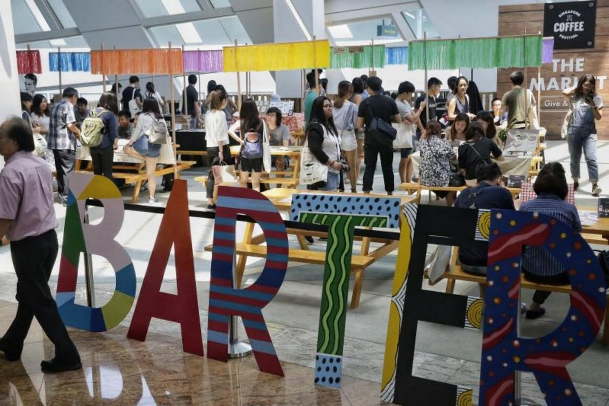 Barter Market by Indigoism, where goods and services are bartered instead of money changing hands, at the Singapore Coffee Festival on Aug 5, 2017.