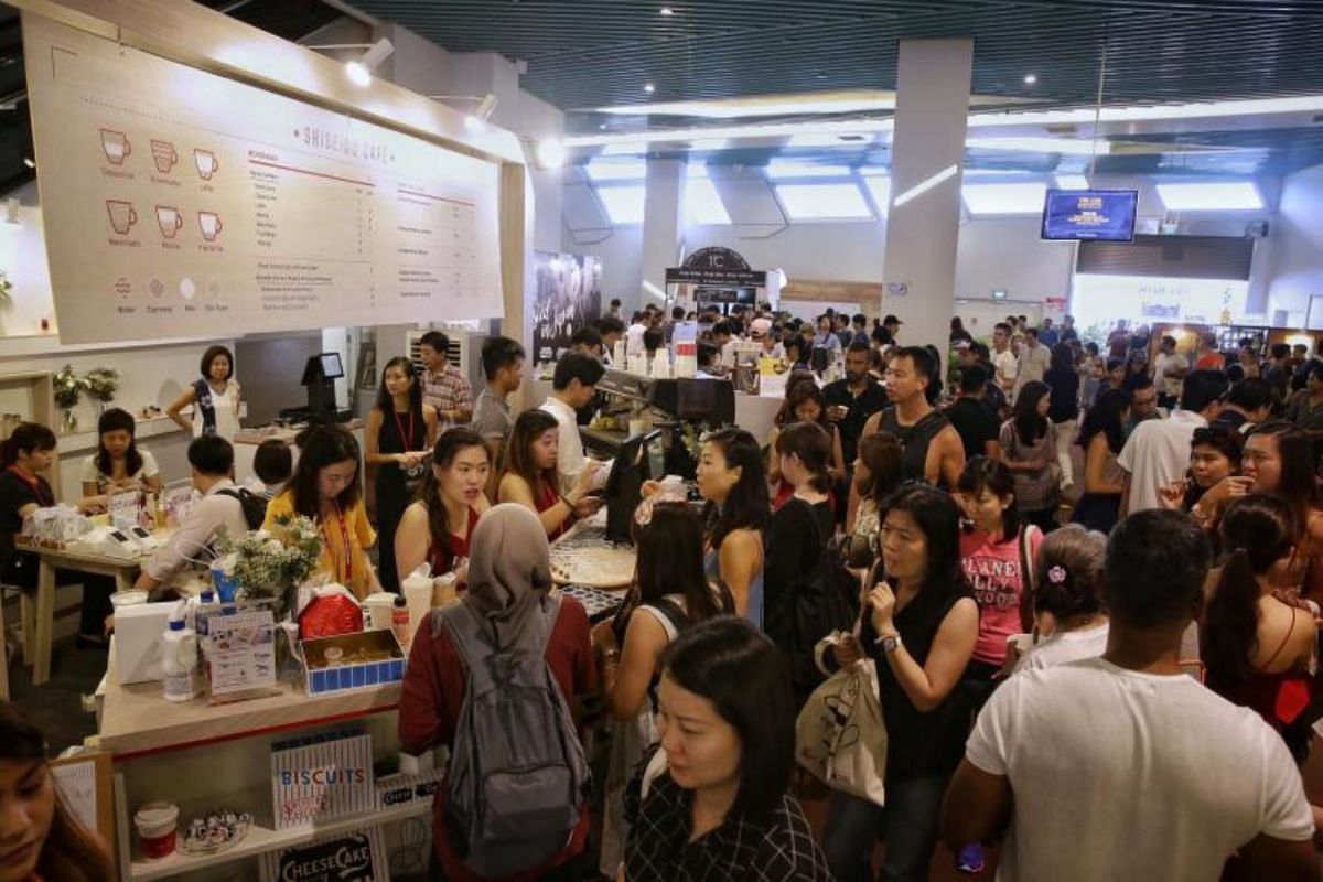 Visitors at Shiseido Cafe at Level 1 of the Marina Bay Cruise Centre.