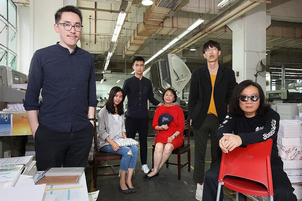 The people behind the notebook project include (from far left) Mr Jonathan Yuen from Roots; Ms Suzette Josephine and Mr Jiahui Tan from Fable; Ms Junny Saw of specialist printer Dominie Press; Mr Tan Yanda of Do Not Design; and Mr Theseus Chan of Work.