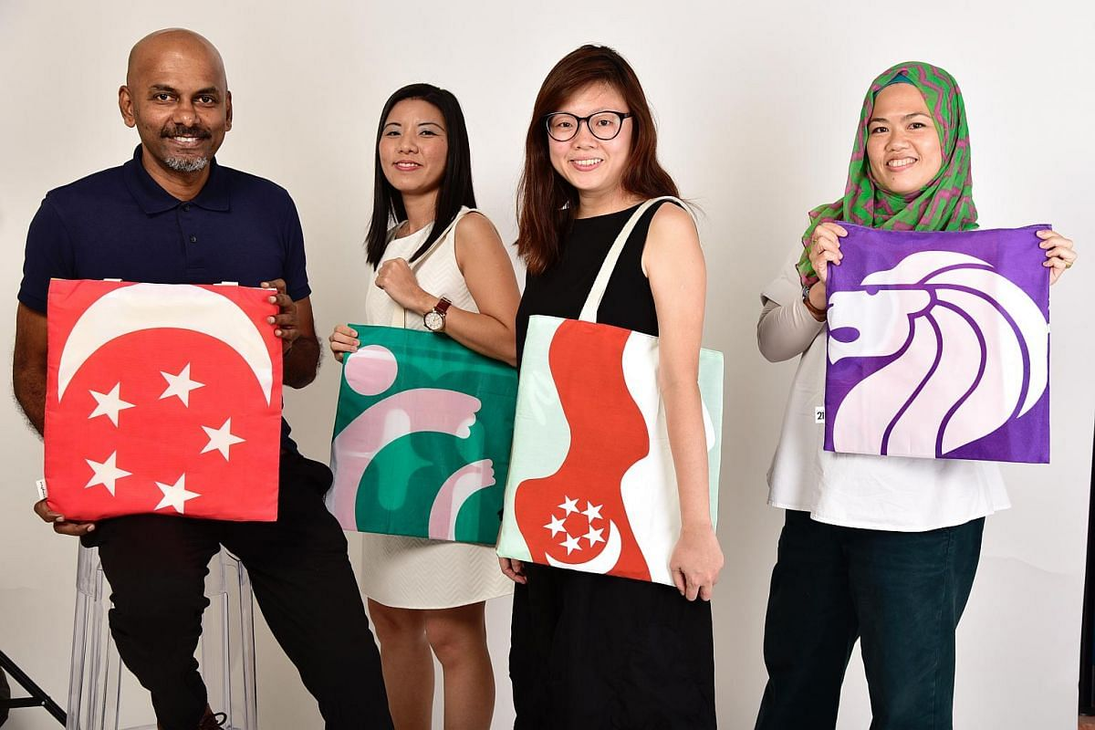 (From left) Creative director at DDB Singapore Mahesan M; Ms Susan Tan from the Singapore Association for Mental Health; associate creative director at DDB Singapore Ms Sharon Goh; and co-founder of The Looms Workshops Ms Nasyitah Tan showing the Lam