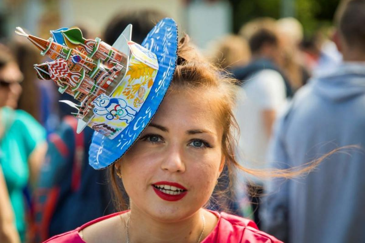 This woman thought a headpiece featuring Moscow's St Basil's Cathedral would be the right way to top off her getup.