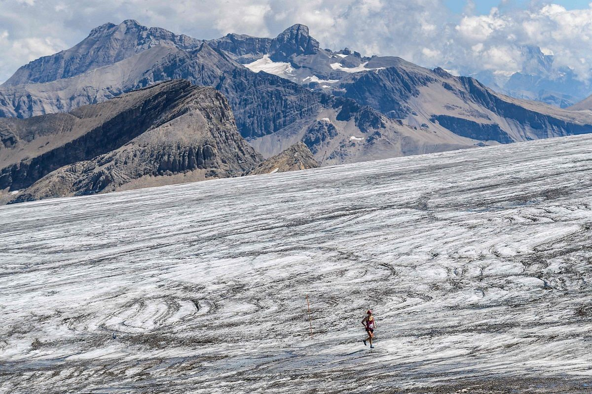 A runner on the Tsanfleuron glacier during the Glacier 3000 run and marathon above the Les Diablerets village, Switzerland, on Aug 5. The 42km marathon has been dubbed the hardest race in Switzerland in 2017, with an altitude gain of 2,757m.