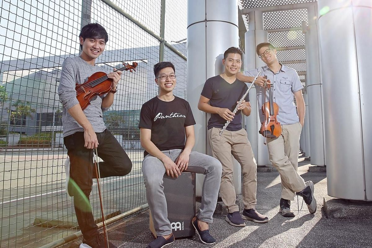 Music group Lorong Boys, which includes 20somethings (from far left) Gabriel Lee, Joachim Lim, Rit Xu and David Loke, is still figuring out how to translate its Internet fame into ticket sales.