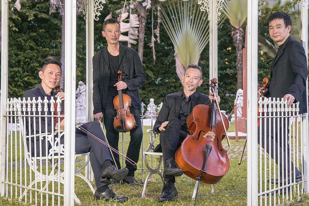 T'ang Quartet includes (from far left) Ng Yu-Ying, Lionel Tan, Leslie Tan and Ang Chek Meng.