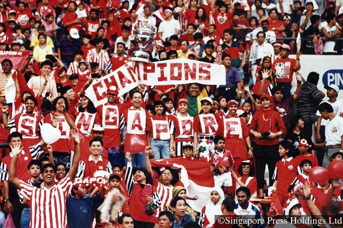 "1994: Singapore fans in the tens of thousands supporting the Lions at the height of football fever. The Singapore ""dream team"" beat Selangor 4-0 to win the Malaysia Cup."