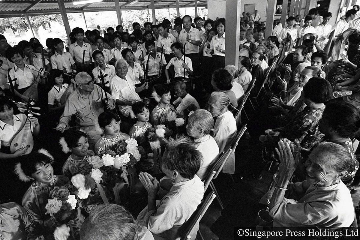 1980: Toh Tuck Secondary School's Chinese Orchestra enthralled residents at the Woodlands Home for Aged with dance performances and recitals.