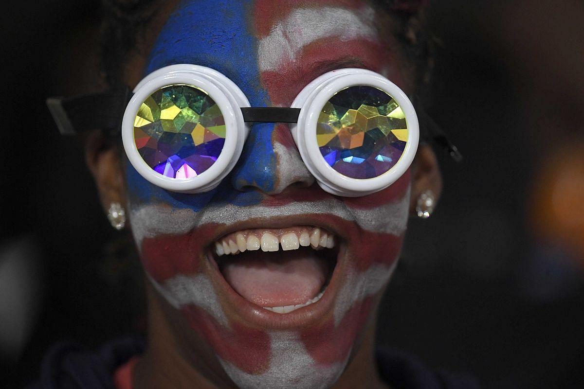 A US supporter at the World Athletics Championships in London Stadium, Britain, on Aug 9.