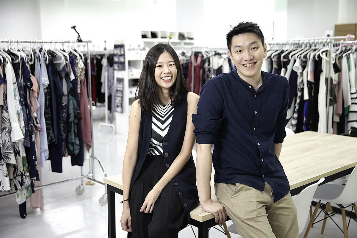 Style Theory co-founders Raena Lim and Charlie Halim (both above), whose company has almost 8,000 clothes available for rent.