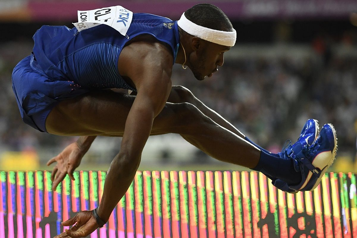 Bound: Will Claye of the USA in the men's triple Jump final Aug10.