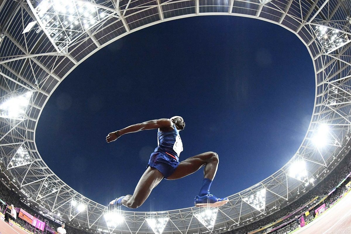Leap: Will Claye of the US in the men's triple jump final on Aug 10.