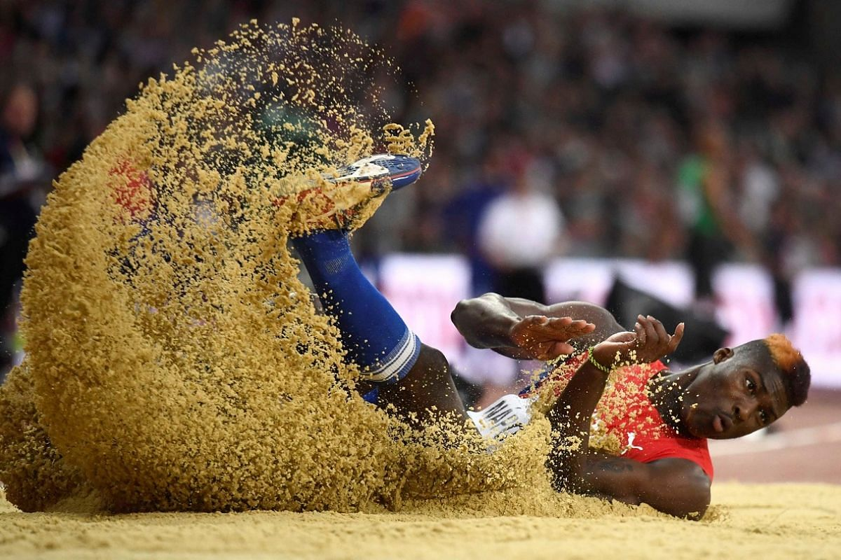 Cristian Napoles of Cuba in the men's triple jump final on Aug 10.