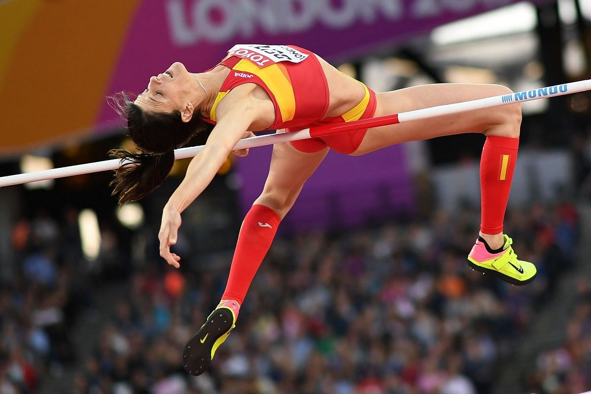 Spain's Ruth Beitia in the women's high jump on Aug 10.