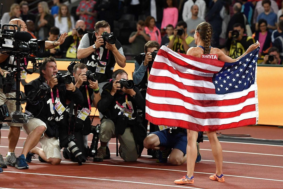 US athlete Jennifer Simpson celebrates her second place in the final of the women's 1,500m on Aug 7.