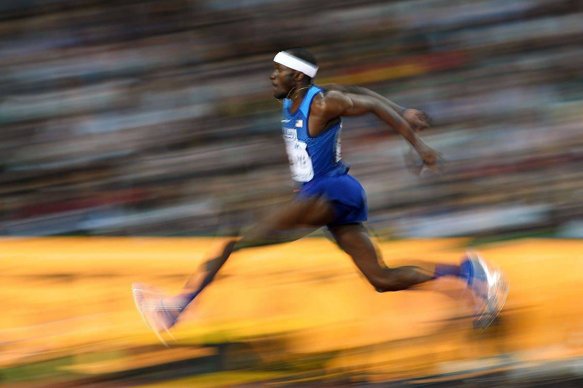 Stride: Will Claye in the final of the men's triple jump on Aug 10.