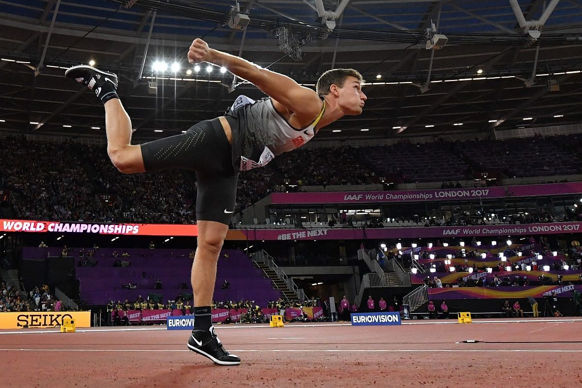 Germany's Thomas Rohler in the men's javelin event on Aug 10.
