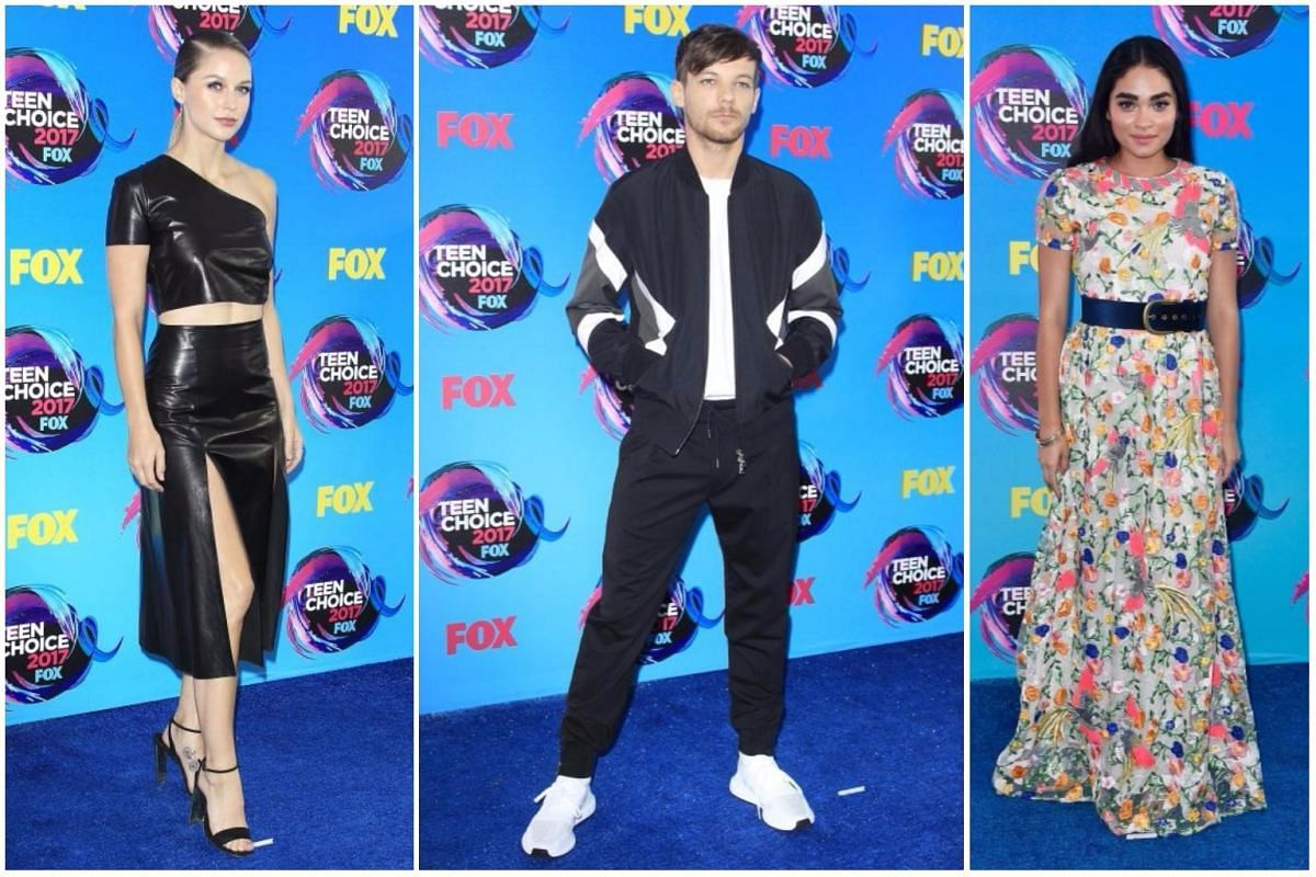 From left: US actress Melissa Benoist, British singer Louis Tomlinson and  US actress Brittany O'Grady.