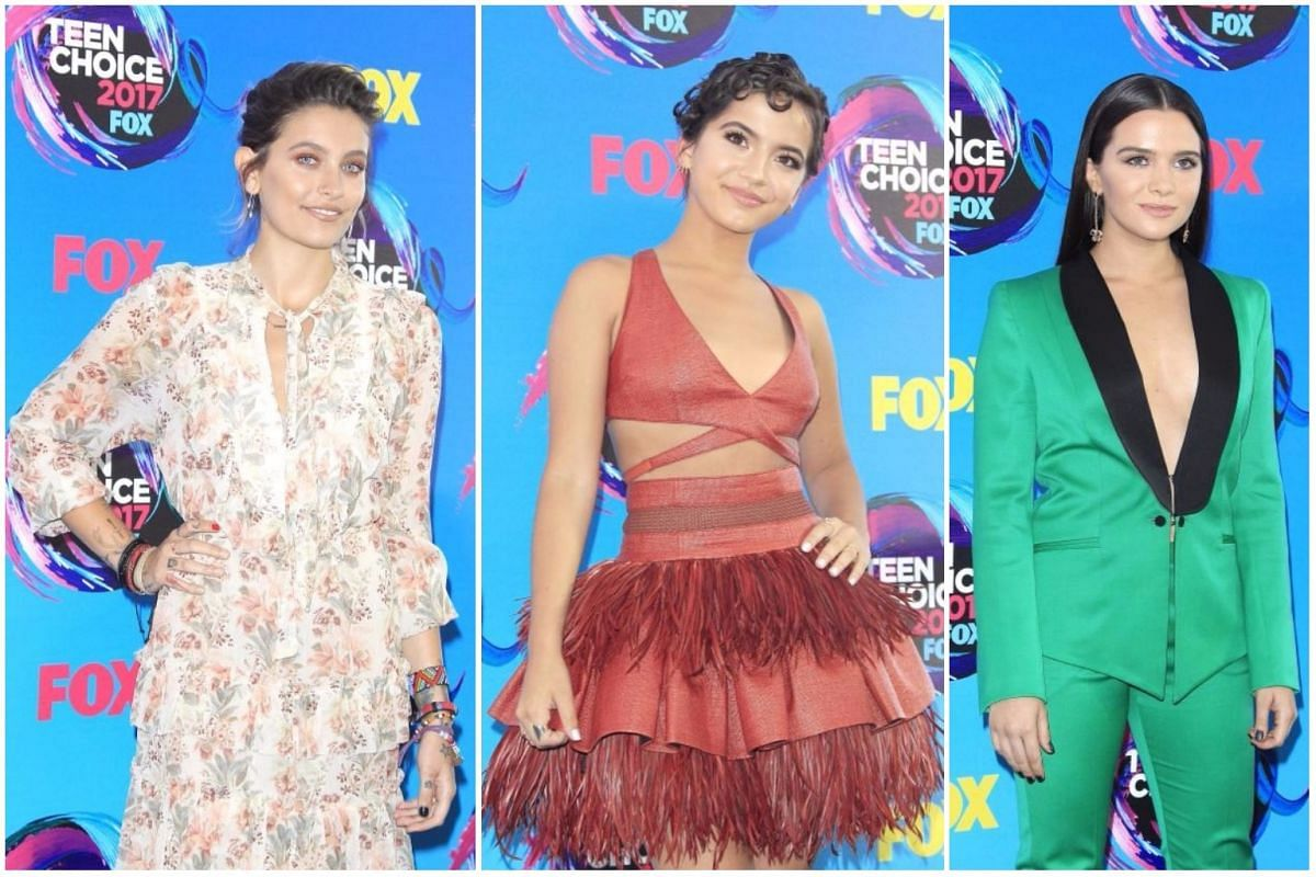 From left: US model-actress Paris Jackson, US actress Isabela Moner and US actress Katie Stevens.