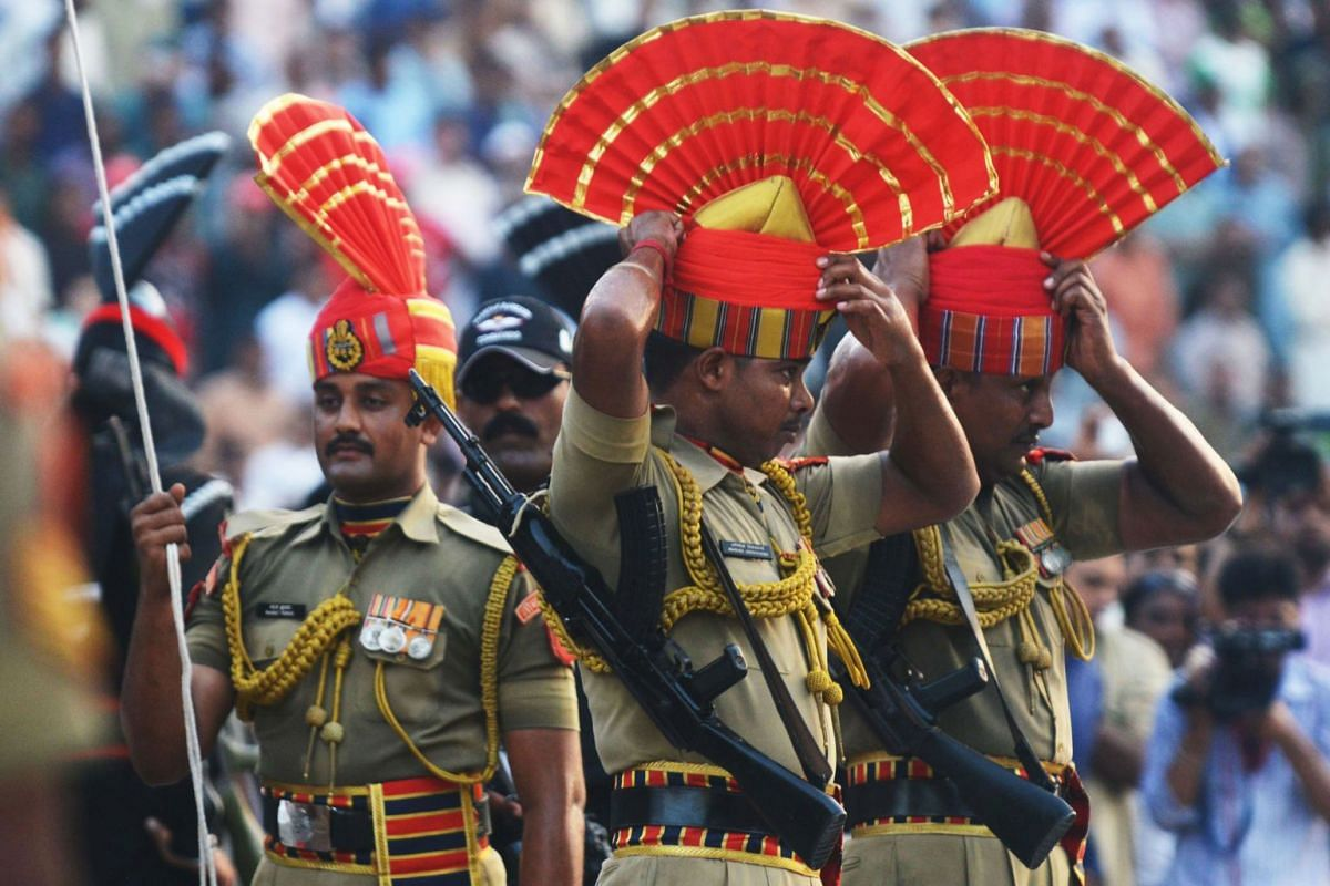 Indian Border Security Force personnel at the Wagah border ceremony. The heavily choreographed ritual, a daily affair that has taken place since 1959, is symbolic of the rivalry between India and Pakistan.