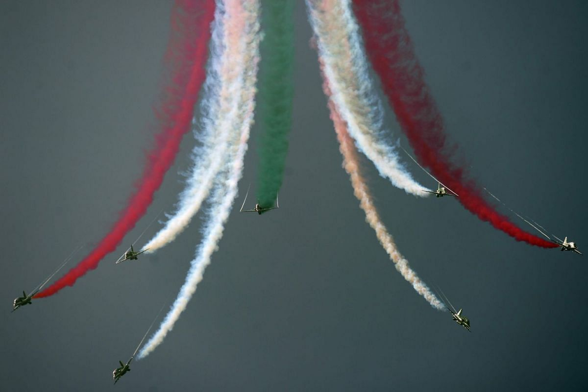 An aerobatic team performing in Pakistan's capital Islamabad. The largest-ever air show in the country's history was held there on Aug 14, with aerobatic teams from Turkey and Saudi Arabia participating along with the Pakistan Air Force.