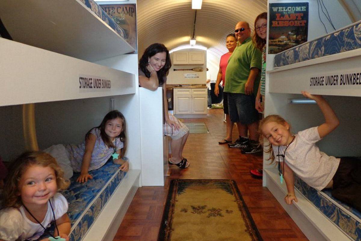 The bomb shelters come in different sizes, to fit in small and large families.