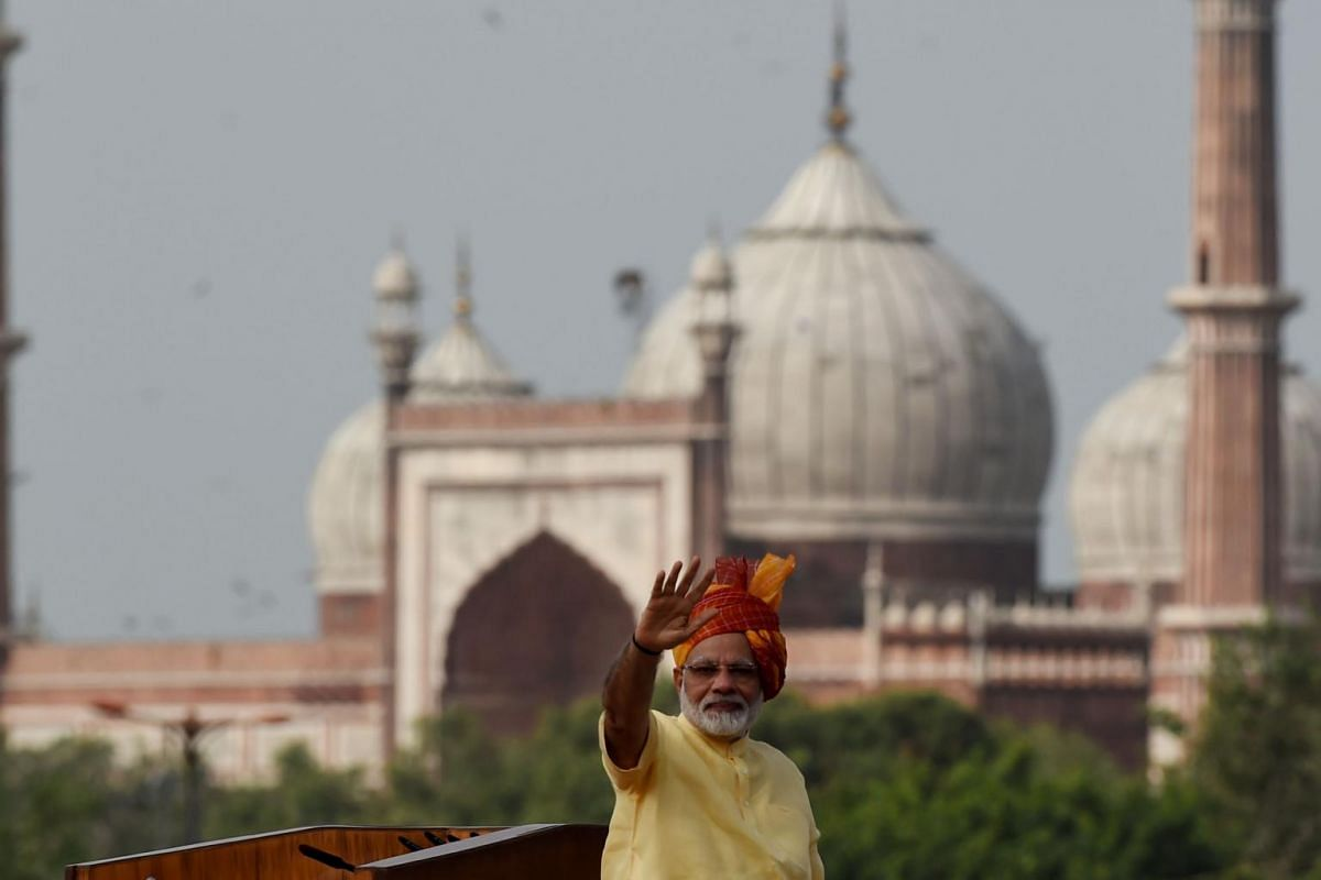 Indian Prime Minister Narendra Modi gestures to the crowd after delivering his speech for the country's 71st Independence Day celebrations, which marks the 70th anniversary of the end of British colonial rule, at the historic Red Fort in New Delhi, o
