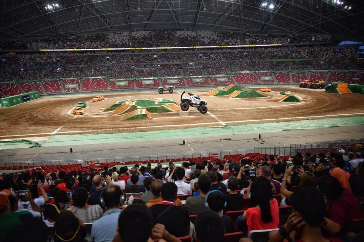 Monster Mutt Dalmatian making the rounds during the Monster Jam Singapore show.