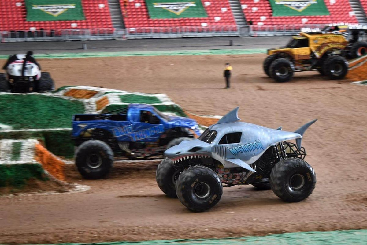 A Monster Jam truck measures about 3.2m tall, 3.7m wide, 5.2m long and weighs at least 2,000kg.