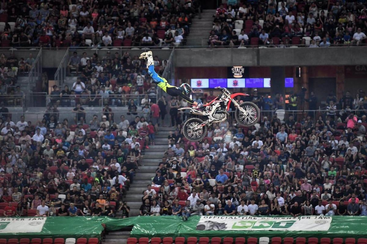 Stunt riders performing during the intervals at the Monster Jam Singapore on Aug 19, 2017.