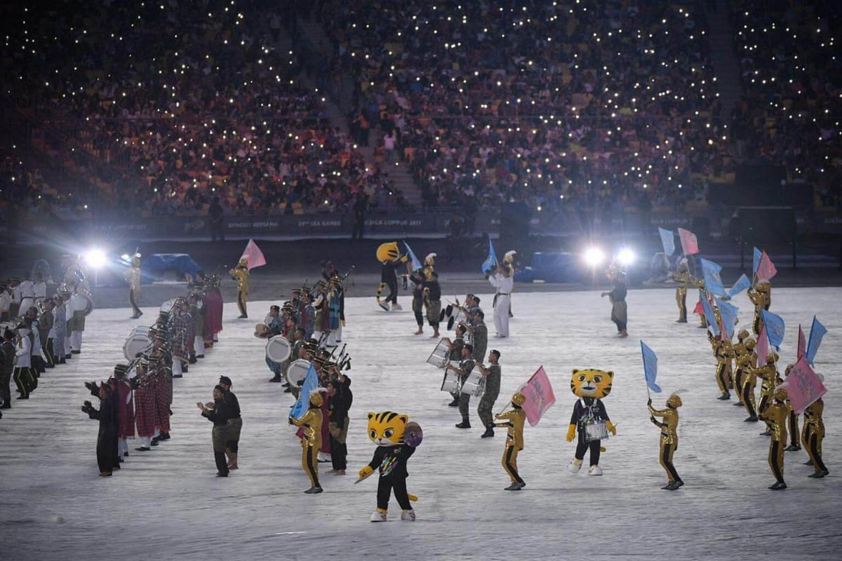 The pre-opening ceremony performance at the Bukit Jalil National Stadium.