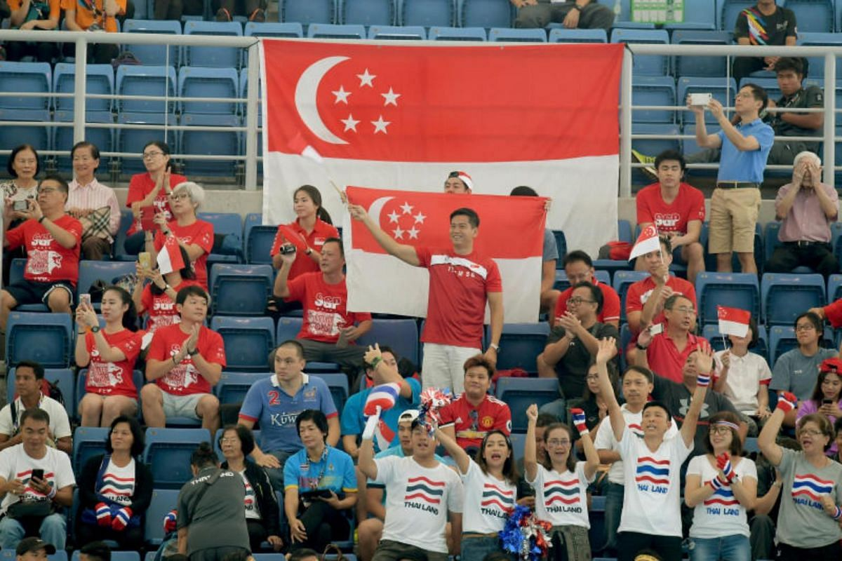 Singapore supporters at the Singapore versus Thailand women's water polo match of the 29th SEA Games at the National Aquatic Centre at Bukit Jalil, Kuala Lumpur on Aug 19, 2017. Singapore took the silver after losing 1-5 to Thailand.