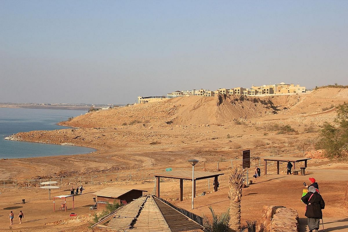Many hotels still in business at the Dead Sea have had to construct lifts or walkways so guests can reach the banks of the sea, which used to be at their doorstep.