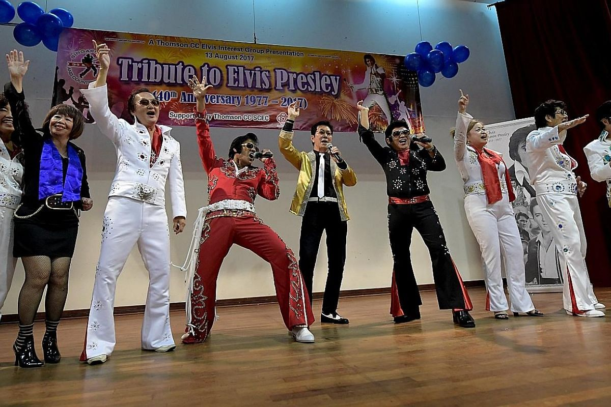 Above: Tribute artists from the Elvis singing group at Thomson Community Club taking to the stage during the finale of the performance, to belt out Viva Las Vegas. Below: Each Elvis tribute artist takes along his video CD collection of Presley songs
