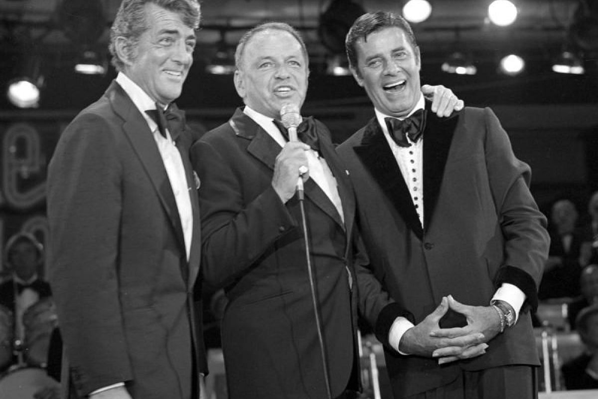 (From left) Dean Martin, Frank Sinatra and Jerry Lewis during the Jerry Lewis MDA Labour Day Telethon at the Sahara in Las Vegas, Nevada, on Sept 5, 1976.