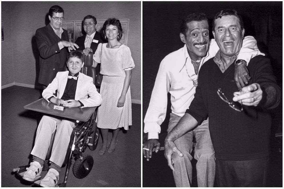 Left: Jerry Lewis, named Honourable President of French Muscular Dystrophy Association, accompanied by French actress Christine Delaroche in Paris on May 17, 1984. Right: Jerry Lewis and US singer Sammy Davis Jr at the Desert Inn in Las Vegas, Nevada