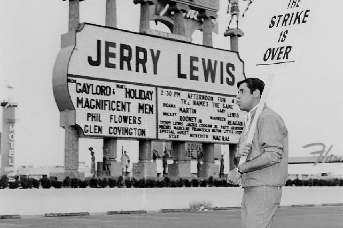 This undated photo shows Jerry Lewis joking around in front of the Caesars Palace marquee in Las Vegas, Nevada.