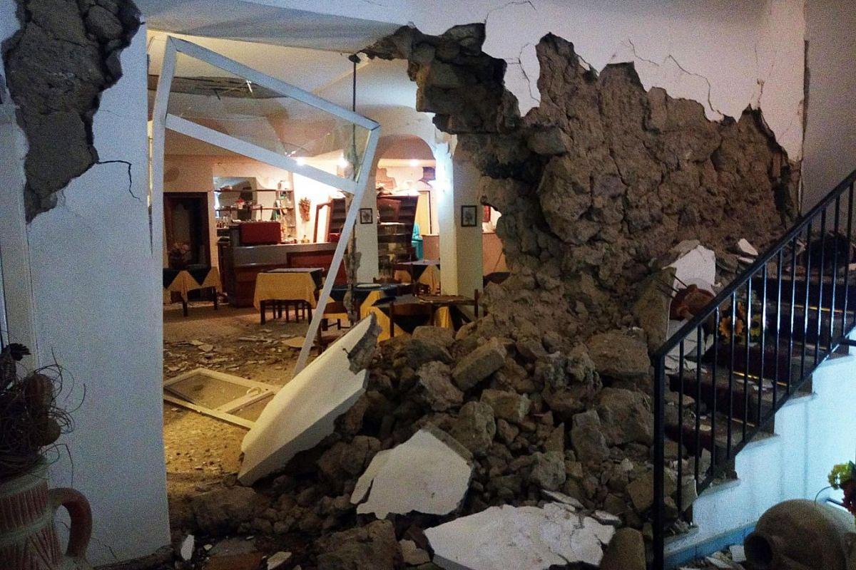 An inside view of the damaged Vinetum Hotel in Casamicciola, Ischia Island, Italy, August 22, 2017. A 4.0 magnitude earthquake hit Ischia Island on August 21, killing two people and injuring at least 39.