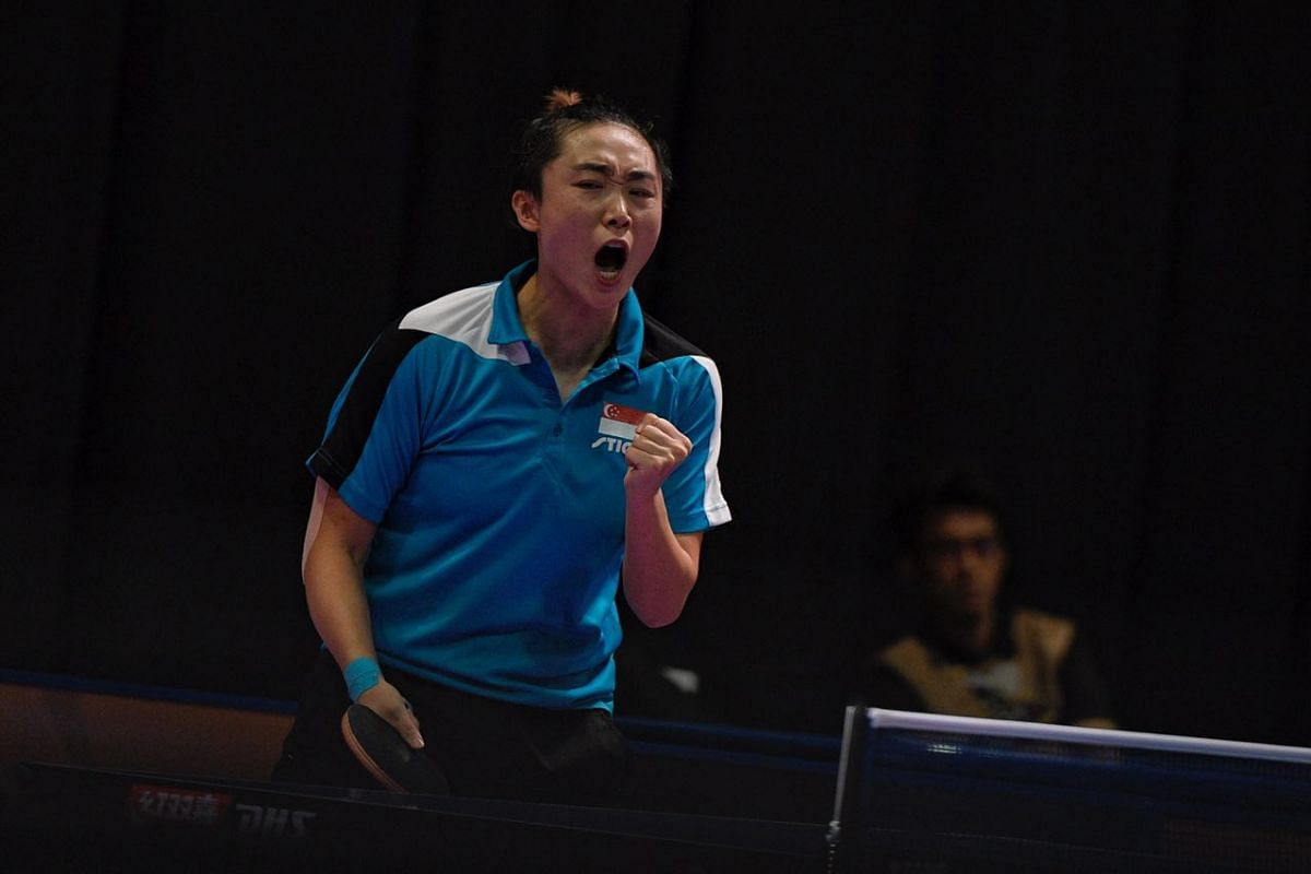Feng Tianwei pumps her fist after winning a point against Compatriot Zhou Yihan during the SEA Games women's table tennis singles finals on 22 August, 2017.