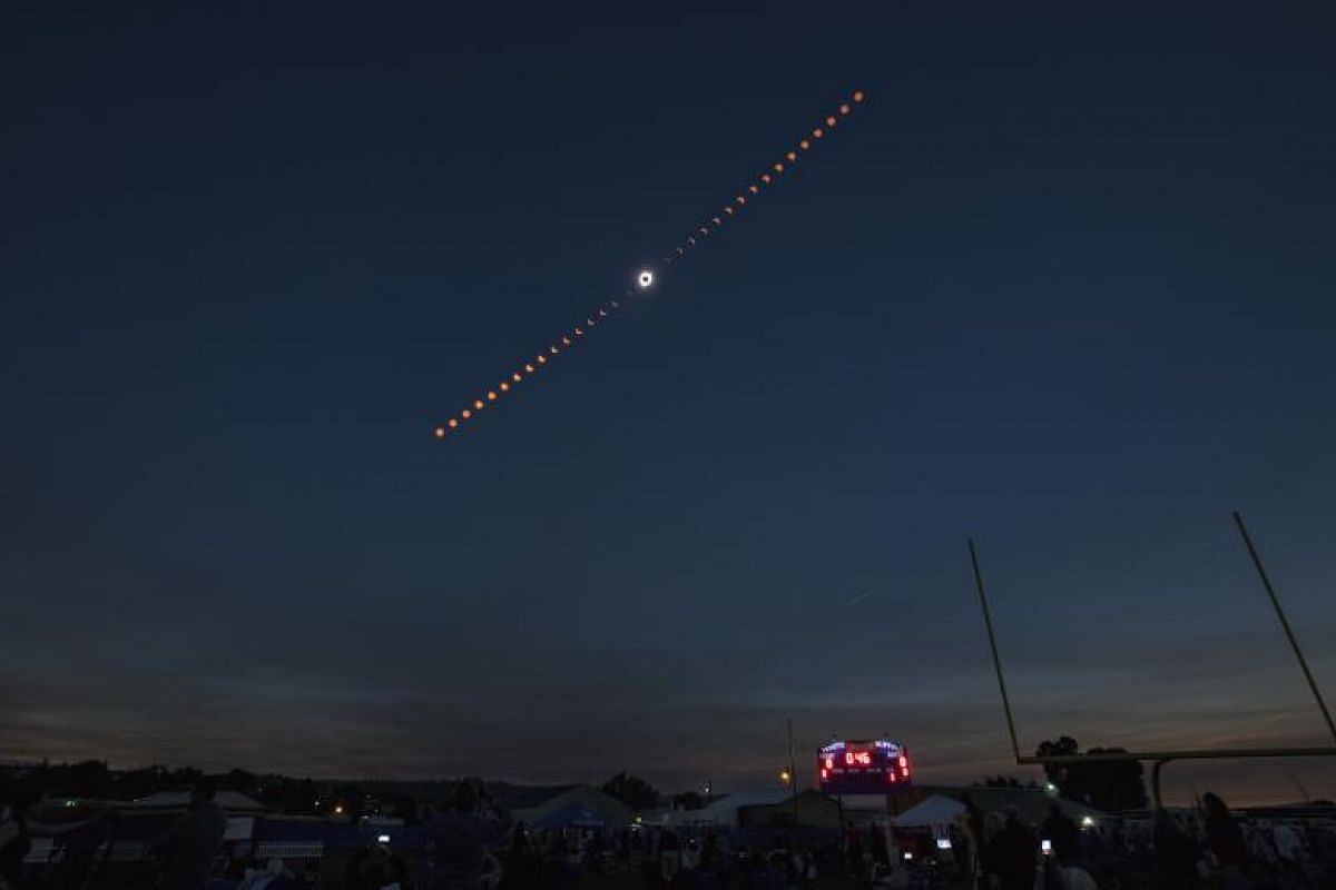 A composite image of the total solar eclipse seen from the Lowell Observatory Solar Eclipse Experience on Aug 21, 2017, in Madras, Oregon.
