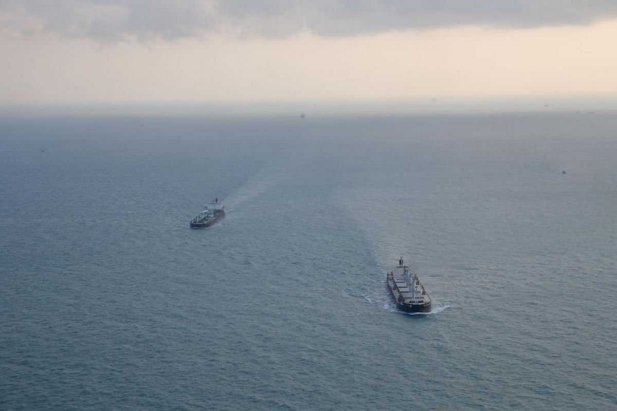 Ships in search of missing sailors from the USS John S. McCain on Aug 23, 2017.