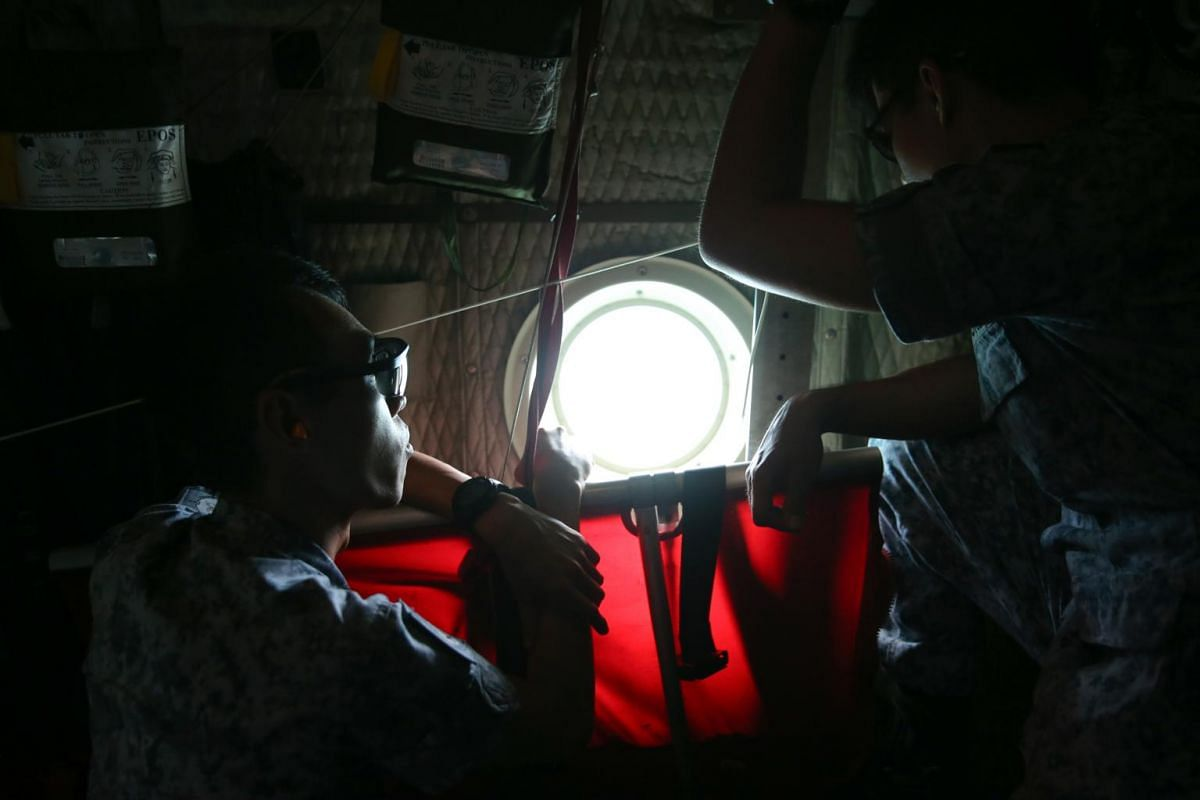 In the C-130 mission accompanied by media representatives, the search spanned 1,269 sq km over the eastern and northern parts of the Singapore search area.