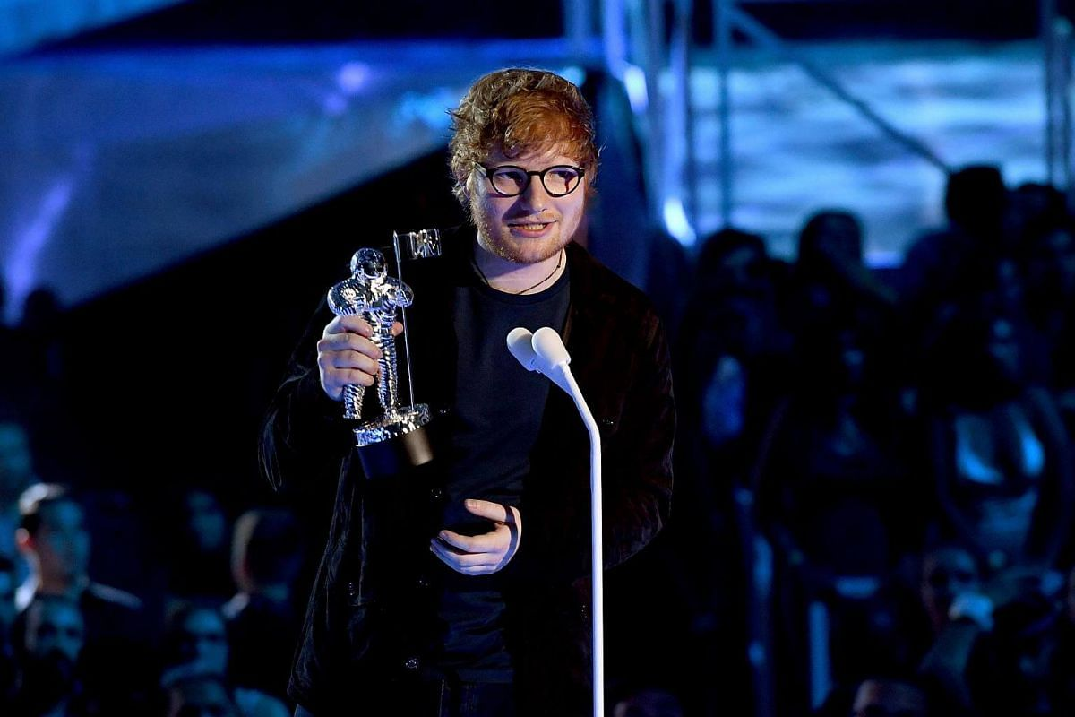 Singer Ed Sheeran wins the Artist of the Year award at the 2017 MTV Video Music Awards on Aug 27, 2017.