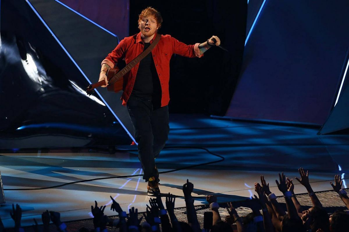 Singer Ed Sheeran performs during the 2017 MTV Video Music Awards on Aug 27, 2017.