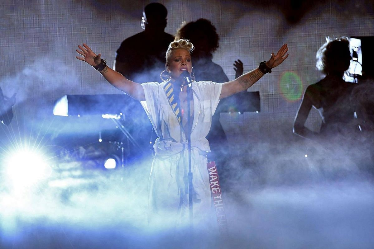 Pink performs onstage during the 2017 MTV Video Music Awards on Aug 27, 2017.