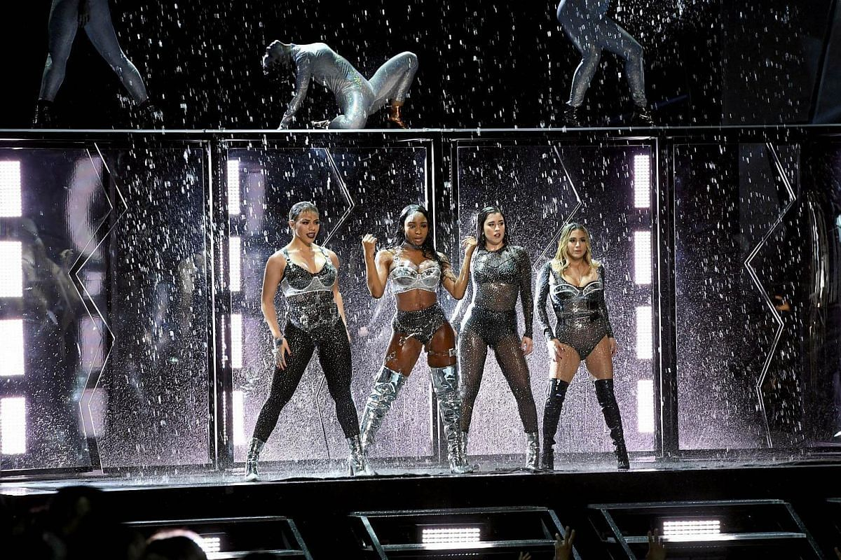 Dinah Jane, Normani Kordei, Lauren Jauregui, and Ally Brooke of music group Fifth Harmony perform onstage during the 2017 MTV Video Music Awards on Aug 27, 2017.